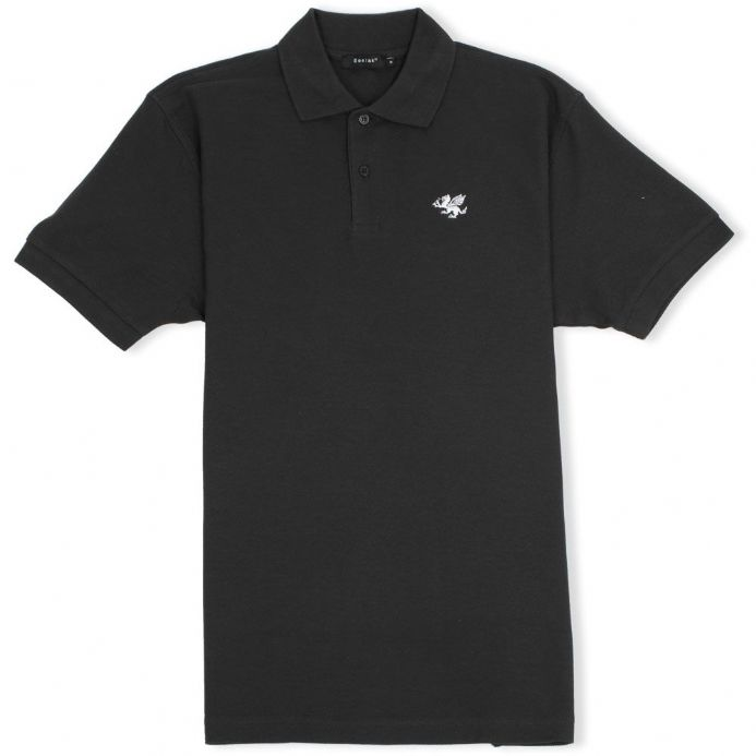Senlak Classic Pique White Dragon of the English Polo Shirt - Black
